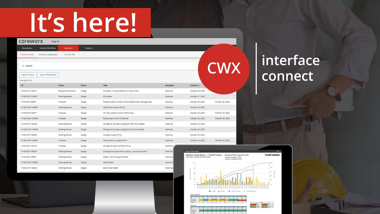 Interface Connect - The latest evolution of Coreworx interface management software for major projects.